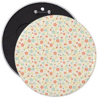 Colorful floral pattern illustration 6 cm round badge