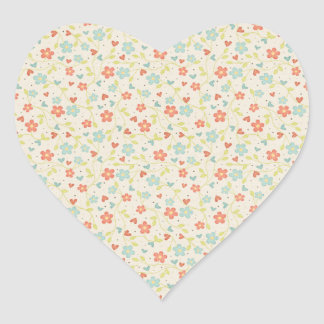 Colorful floral pattern illustration heart sticker