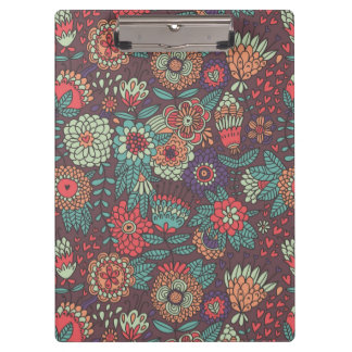 Colorful floral pattern in cartoon style clipboard
