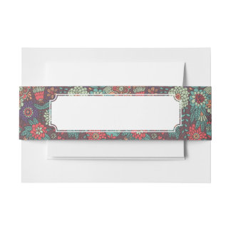Colorful floral pattern in cartoon style invitation belly band
