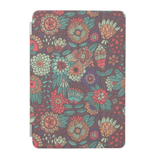 Colorful floral pattern in cartoon style iPad mini cover