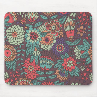 Colorful floral pattern in cartoon style mouse mat
