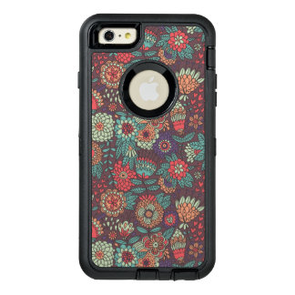 Colorful floral pattern in cartoon style OtterBox defender iPhone case