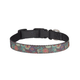 Colorful floral pattern in cartoon style pet collar