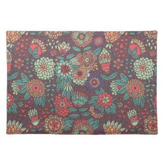 Colorful floral pattern in cartoon style placemat