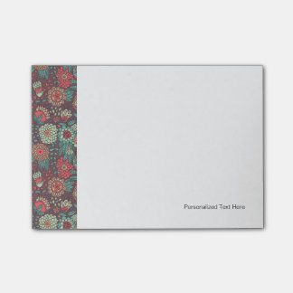 Colorful floral pattern in cartoon style post-it notes