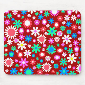 Colorful Floral Pattern Mouse Pad