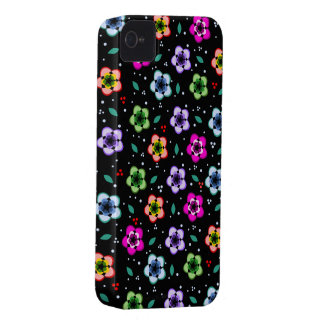 Colorful Floral pattern on black background iPhone 4 Cover