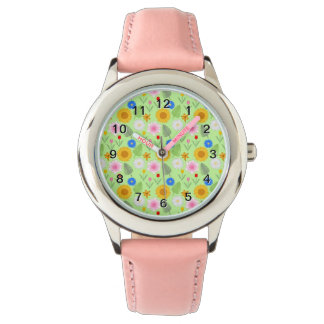Colorful Floral Pattern on Mint Green. Watch