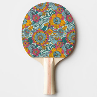 Colorful floral pattern ping pong paddle