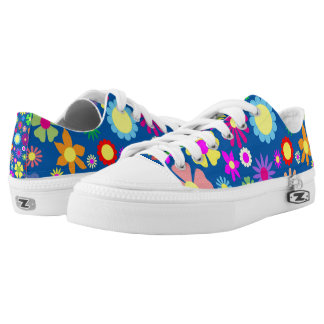 Colorful floral pattern printed shoes