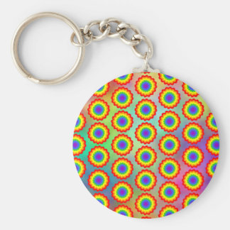Colorful Floral Pattern. Rainbow Colors. Basic Round Button Key Ring