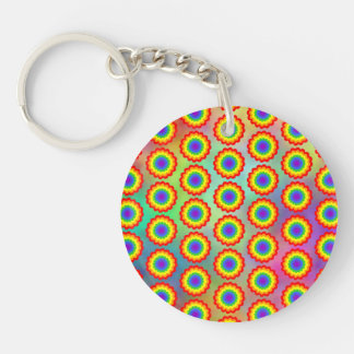 Colorful Floral Pattern. Rainbow Colors. Double-Sided Round Acrylic Key Ring
