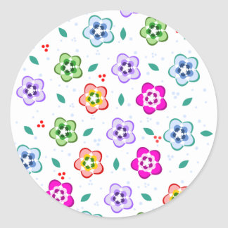 Colorful Floral pattern Round Stickers