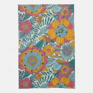 Colorful floral pattern tea towel