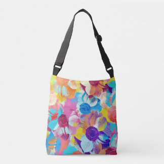 Colorful Floral Pattern with Anemone Flowers Crossbody Bag