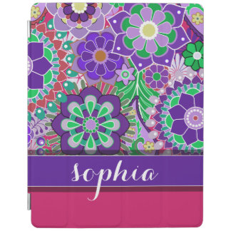 Colorful Floral Pattern with Name - aubergine iPad Cover