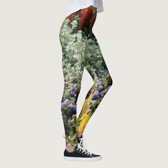 Colorful Floral Photo Leggings, M Leggings