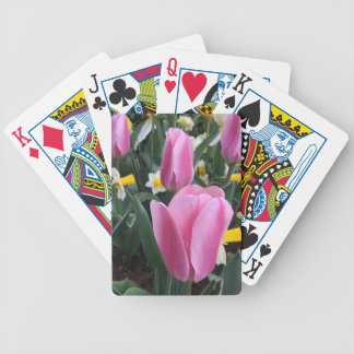 Colorful Floral Pink Spring Easter Tulips Bicycle Playing Cards