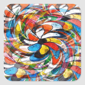 Colorful Floral Primary Abstract Square Sticker