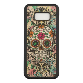 Colorful Floral Skull Black Swirls Carved Samsung Galaxy S8+ Case