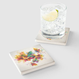 Colorful Floral Stone Coaster