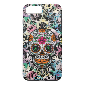 Colorful Floral Sugar Skull & Black Swirls iPhone 8 Plus/7 Plus Case
