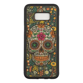 Colorful Floral Sugar Skull Carved Samsung Galaxy S8+ Case