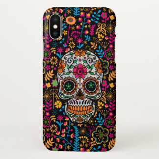 Colorful Floral Sugar Skull & Flowers Background iPhone X Case
