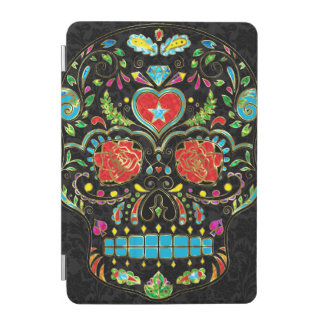 Colorful Floral Sugar Skull Glitter And Gold 2 iPad Mini Cover