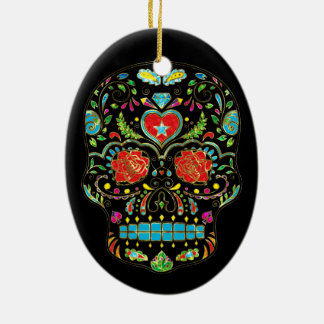 Colorful Floral Sugar Skull Glitter And Gold Christmas Ornament
