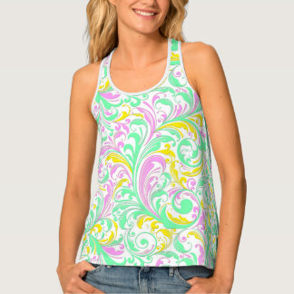 Colorful Floral Swirls Pastel Tones Tank Top