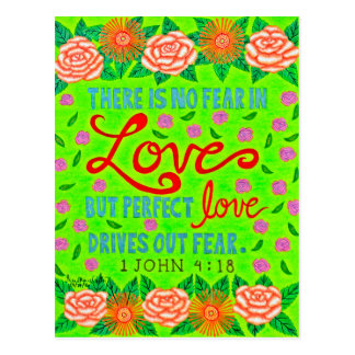 Colorful Floral Typography Bible Verse On Love Postcard