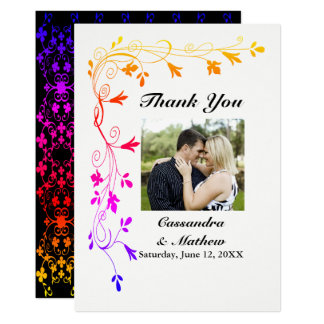 Colorful Floral Vines with Photo Thank You Card