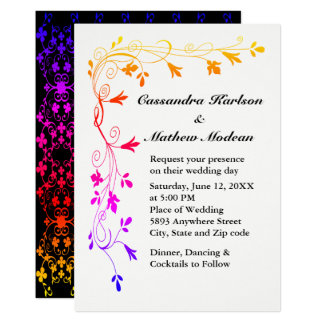 Colorful Floral Vines with Photo Wedding Invite