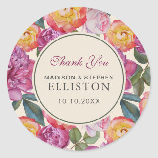 Colorful Floral Watercolor Bouquet | Thank You Classic Round Sticker