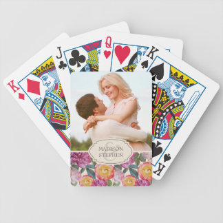 Colorful Floral Watercolor Bouquet - Wedding Photo Bicycle Playing Cards