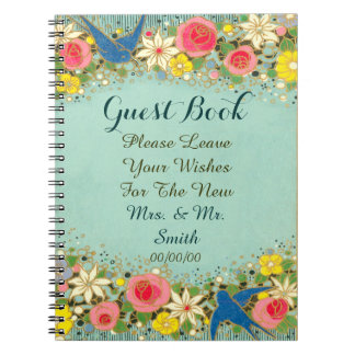 colorful floral wedding guest book notebooks