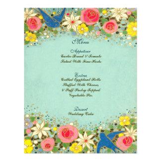 colorful floral wedding menu 21.5 cm x 28 cm flyer