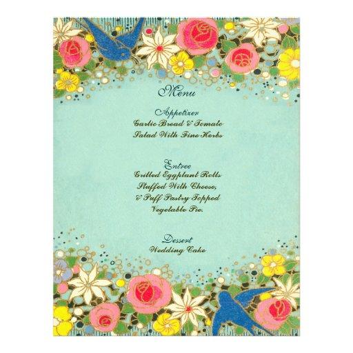 colorful floral wedding menu custom flyer