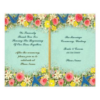 colorful floral wedding program 11.5 cm x 14 cm flyer