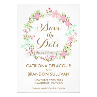 Colorful Floral Wreath Save The Date Announcement