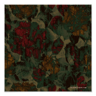 Colorful flower camouflage pattern poster