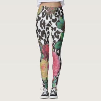 colorful flower decorative floral cheetah leggings