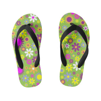 Colorful Flower Kids Flip Flops