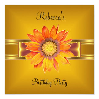 Colorful Flower Orange Yellow Gold Bow 13 Cm X 13 Cm Square Invitation Card