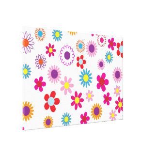 Colorful Flower Pattern Gallery Wrap Canvas