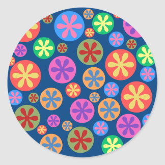 Colorful Flower Pattern Round Sticker