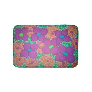 Colorful Flower Pattern Tropical Bath Mat Bath Mats