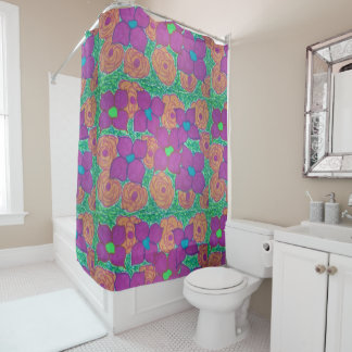 Colorful Flower Pattern Tropical Shower Curtain
